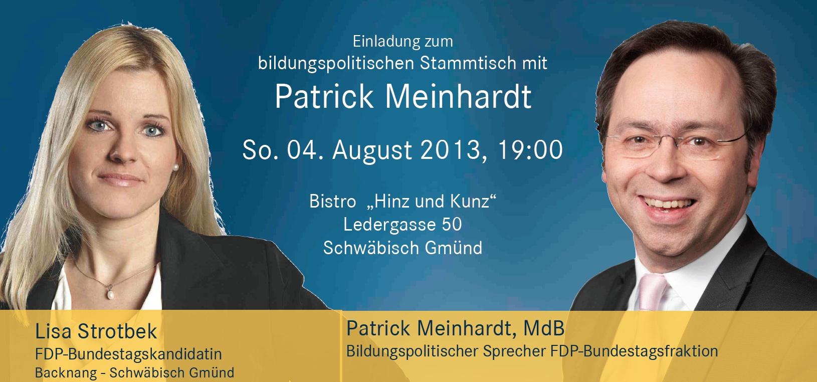 Bildungspolitischer Stammtisch mit Patrick Meinhardt